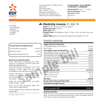 High Quality Bill Example Taken From  Https://www.edfenergy.com/large Business/customers/understanding Your Bill